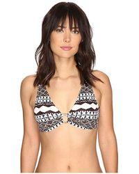 b7254731837fd Lauren by Ralph Lauren - Primitive Stripe Over The Shoulder Ring Halter  (brown) Swimwear
