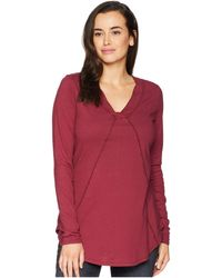Mod-o-doc - Classic Jersey Long Sleeve Seamed V-neck Tee - Lyst