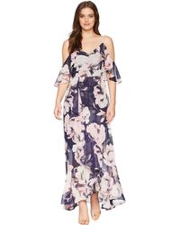 651b03b6697 Vince Camuto - Printed Chiffon Cold Shoulder Maxi Dress With Ruffled Skirt  - Lyst