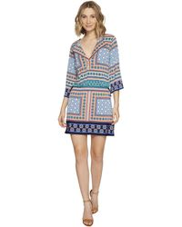 Laundry by Shelli Segal | Printed Dress W/ Tied Waist | Lyst