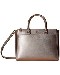 25716d653ac Lyst - Tory Burch Robinson Micro Saffiano Leather Tote in Gray