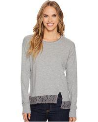 Mod-o-doc - Heather Slub Rib Asymmetrical Seamed Sweatshirt With Lace Trim - Lyst