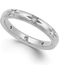 Marchesa Star By Diamond Star Wedding Band In 18K White Gold (1/8 Ct. T.W.) silver - Lyst