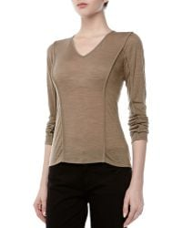 Donna Karan New York Longsleeve Vneck Top Sandalwood - Lyst