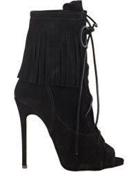 Giuseppe Zanotti Fringe Lace-Up Ankle Boots black - Lyst