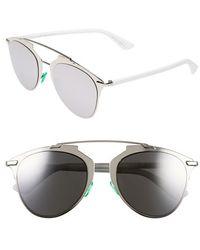 Dior 'Reflected' 52Mm Sunglasses - Palladium/ White black - Lyst