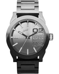 Diesel Mens Double Down 20 Black Ion-plated and Brushed Stainless Steel Bracelet Watch 46mm - Lyst