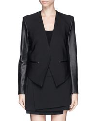 Helmut Lang Leather Sleeve Cropped Back Tuxedo Jacket - Lyst