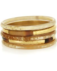 Ashley Pittman - Nuru Set Of Five Horn And Gold-Tone Bangles - Lyst