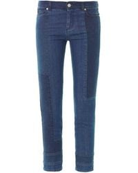 Alexander McQueen Patchwork Mid-Rise Cropped Jeans - Lyst