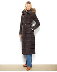 Michael Kors Michael Petite Hooded Faux-fur-trim Belted Down Maxi Puffer - Lyst
