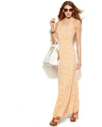 Michael Kors Michael Sleeveless Printed Maxi Dress - Lyst