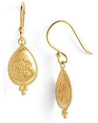 Satya Jewelry 'Lotus Blissful Bloom' Engraved Drop Earrings - Lyst