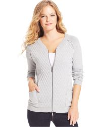 Calvin Klein Jeans Quilted Knit Cardigan - Lyst