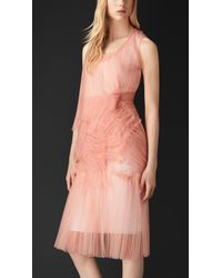 Burberry Cobweb Tulle Dress pink - Lyst