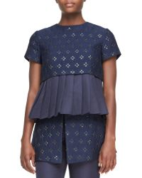 Suno Short-Sleeve Pleated Peplum Top - Lyst