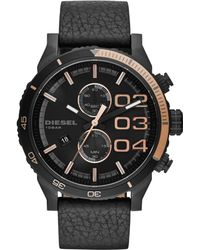 Diesel Mens Chronograph Double Down 20 Black Leather Strap Watch 59x48mm - Lyst
