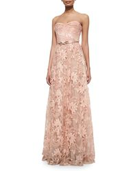 Notte by Marchesa Strapless Sweetheart Belted Lace Full Gown pink - Lyst