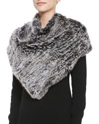 Jocelyn - Triangular Rabbit Fur Poncho - Lyst
