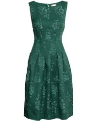 H&M Green Brocade Dress - Lyst