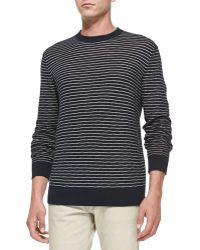 Theory Textured Striped Crewneck Sweater - Lyst