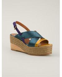 Lanvin Wedge Espadrilles Sandals - Lyst