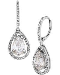 Betsey Johnson Silver Tone and Cubic Zirconia Teardrop Earrings - Lyst