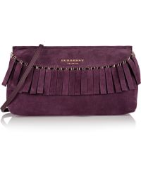 Burberry Prorsum - Fringed Suede Clutch - Lyst