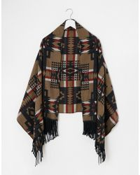 Asos Oversized Natural Geo-Tribal Scarf brown - Lyst