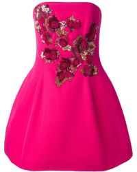 Notte by Marchesa Sequin-Embroidered Silk-Blend Dress pink - Lyst