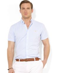 Ralph Lauren Polo Classicfit Shortsleeved Striped Seersucker Shirt - Lyst