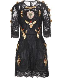 Dolce & Gabbana Embellished Lace Dress - Lyst