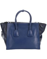 Prada Bluette and Dark Blue Leather Convertible Top Handle Tote - Lyst