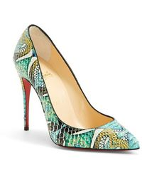 Christian Louboutin 'Pigalle' Hand Painted Genuine Python Pointy Toe Pump - Lyst