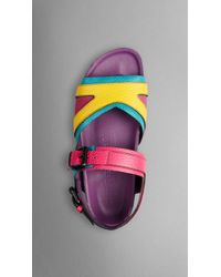 Burberry The Field Sandal In Colour Block Leather - Lyst