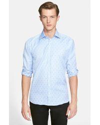 Etro Trim Fit Paisley Jacquard Sport Shirt blue - Lyst