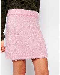 Brave Soul Fluffy Mini Skirt - Lyst
