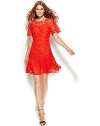 Michael Kors Michael Short-Sleeve Lace Drop-Waist Dress - Lyst