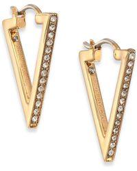 Michael Kors Brilliance Motif PavÉ Triangle Hoop Earrings/Goldtone gold - Lyst