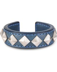 Blackmeans Pyramid Stud Leather Bangle - For Men - Lyst