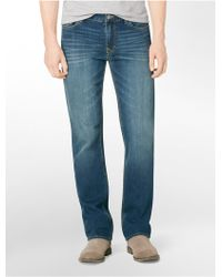Calvin Klein Straight Leg Authentic Blue Wash Jeans - Lyst