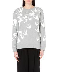 McQ by Alexander McQueen Swallow-Print Cotton-Jersey Sweatshirt - For Women gray - Lyst
