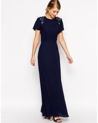 Asos Sleeved Embellished Maxi Dress - Lyst