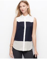 Ann Taylor Colorblock Sleeveless Shirt - Lyst