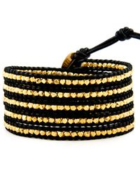 Chan Luu - Gold Wrap Bracelet On Black Leather - Lyst