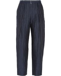 By Malene Birger Angelie Pinstriped Linen Tapered Pants - Lyst