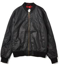 Bellfield Rex Leather-Look Bomber Jacket - Lyst