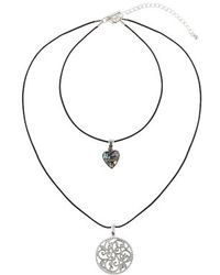 Topshop Heart And Disc Drop Necklace black - Lyst