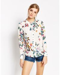 American Retro - Butterly Print Long Sleeve Shirt - Lyst