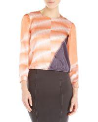 Giorgio Armani Orange Printed Silk Blouse - Lyst